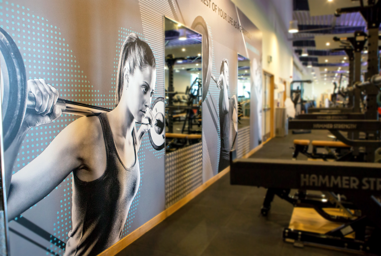 Floor wall graphics for gyms and health clubs chromatics
